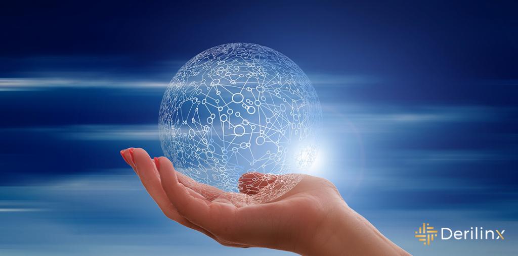 Hand holding ball of data